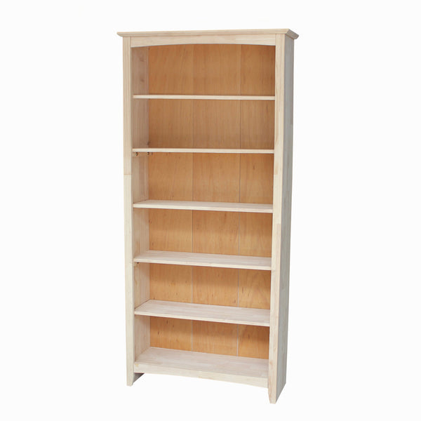 "Shaker Hardwood Bookcase - 32"" Wide x 72"" Tall (Finished Options) - UnfinishedFurnitureExpo"