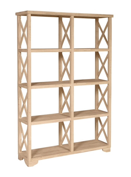 "Hardwood X-Side Room Divider/Bookcase - 47"" x 72"" - UnfinishedFurnitureExpo"
