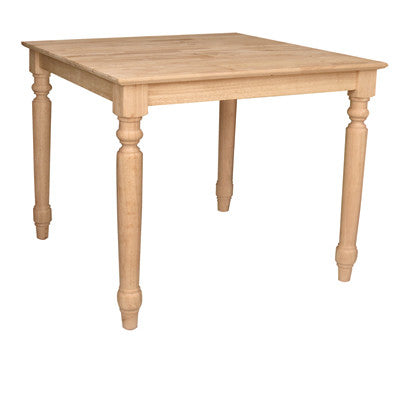 "Square Farmhouse Table 30"" x 30"" (3 Optional Heights) - UnfinishedFurnitureExpo"
