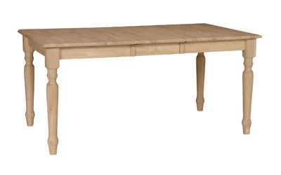Unfinished Furniture Expo Unfinished Hardwood Dining Table with Self-Storing Leaf