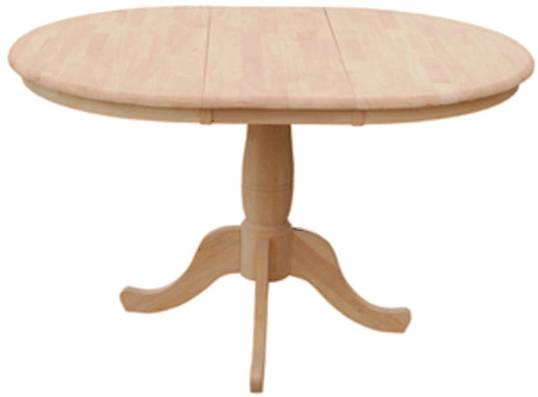 "Unfinished Furniture Expo Unfinished 36"" Round Hardwood Dining Table with Leaf"