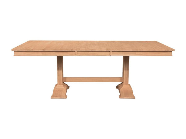 "Hardwood Trestle Dining Table - 66"" - UnfinishedFurnitureExpo"