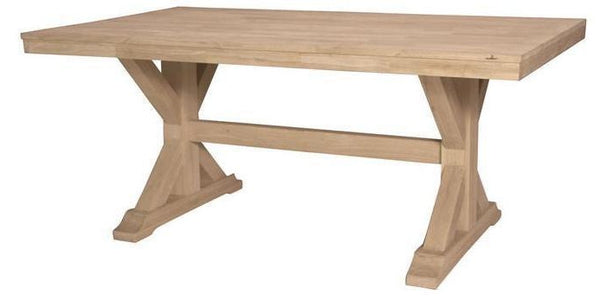 "Canyon Unfinished Solid Hardwood Trestle Dining Table - 69"" (Finish Options) - UnfinishedFurnitureExpo"