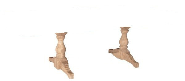 Double Turned Leg Pedestal Base - UnfinishedFurnitureExpo