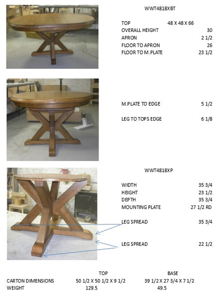 "Canyon Hardwood Oval Extension Table - 48"" (Finish Options) - UnfinishedFurnitureExpo"