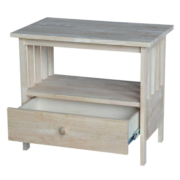 "Mission TV Stand with Drawer - 28"" (Finish Option) - UnfinishedFurnitureExpo"