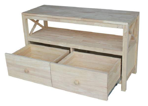 "Hampton X-Side Hardwood Entertainment and TV Stand - 54"" - UnfinishedFurnitureExpo"