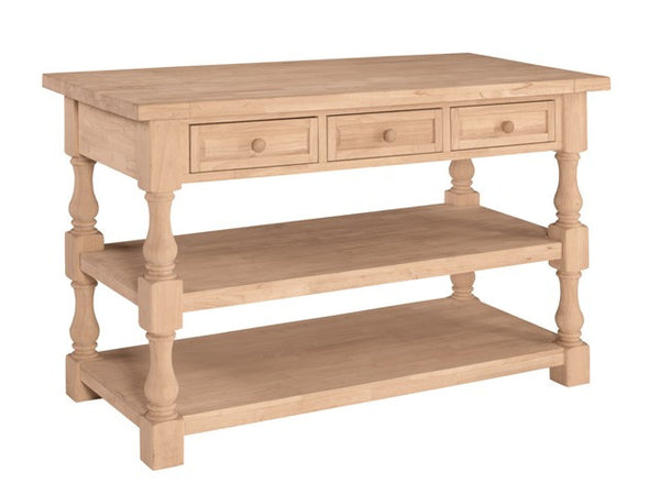 """Tuscan"" Unfinished Solid Hardwood Kitchen Island - UnfinishedFurnitureExpo"