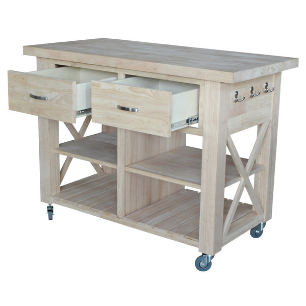 unfinished x side kitchen island unfinishedfurnitureexpo unfinished solid parawood kitchen island 16471827