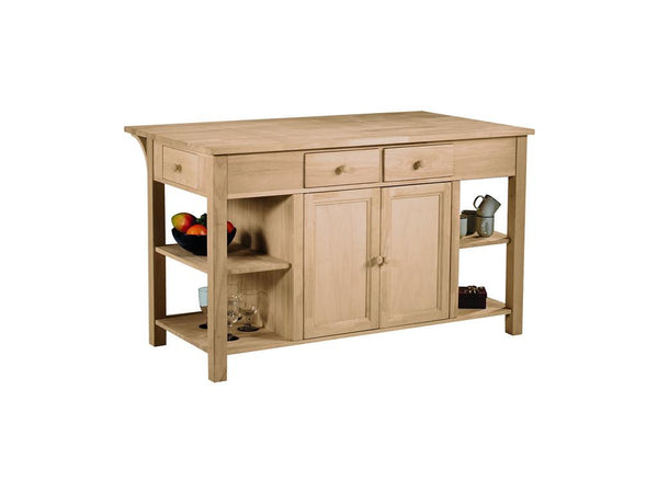 Unfinished Furniture Expo Super Kitchen Center with Breakfast Bar - Hardwood
