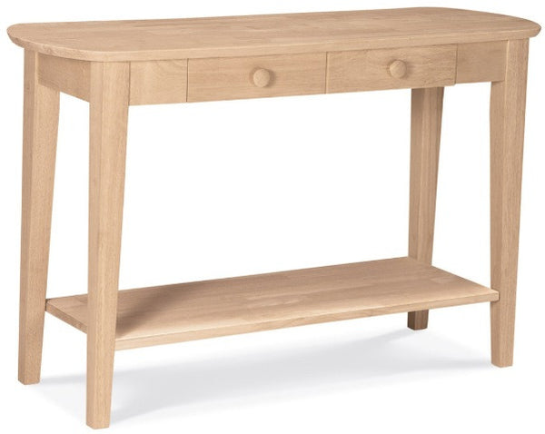 Unfinished Furniture Expo Oval Sofa Table with Drawer