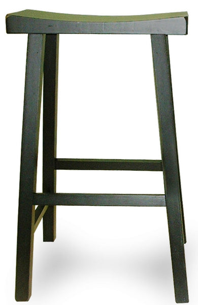 "29"" Hardwood Saddle Seat Stool Antique Black 2-Pack - UnfinishedFurnitureExpo"