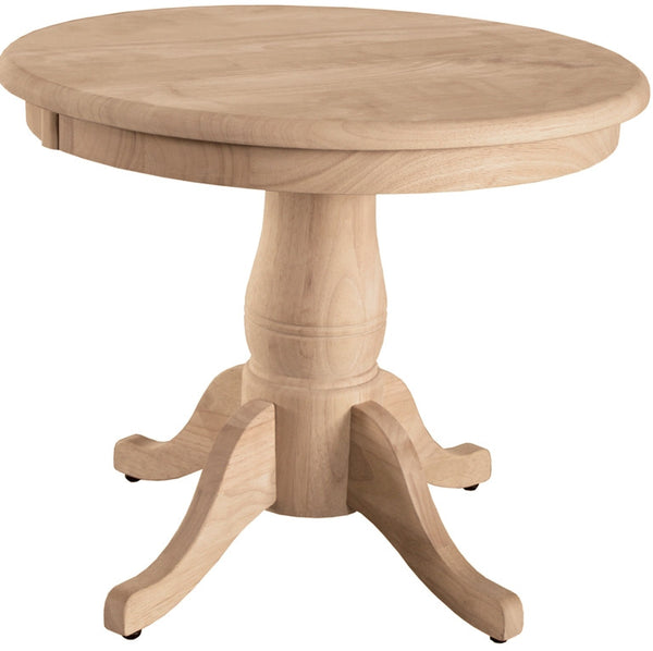 "Unfinished Solid Hardwood End Table 22"" Round"