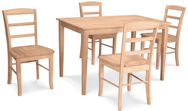 5-Pc. Madrid Shaker Dining Set - UnfinishedFurnitureExpo