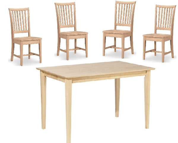 "5-Pc. Mission Shaker Dining Set - 30"" x 48"" - UnfinishedFurnitureExpo"
