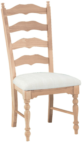 Unfinished Maine Ladderback Chair  with Upholstered Seat