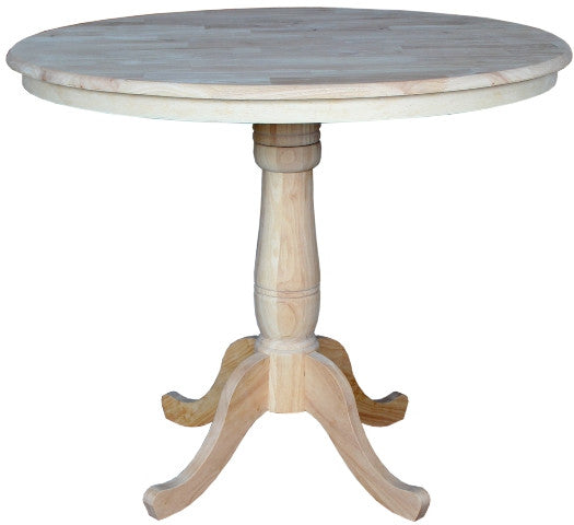 "Solid Hardwood Gathering Table 42"" Round - 36"" Tall - UnfinishedFurnitureExpo"