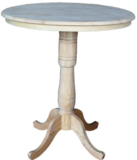 "Solid Hardwood Pub Table 36"" Round - 42"" Tall - UnfinishedFurnitureExpo"