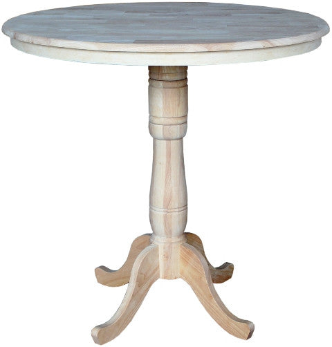 "Solid Hardwood Pub Table 42"" Round - 42"" Tall - UnfinishedFurnitureExpo"