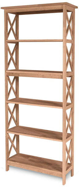 "Unfinished Hardwood X-Sided Bookcase - 72"" Tall"