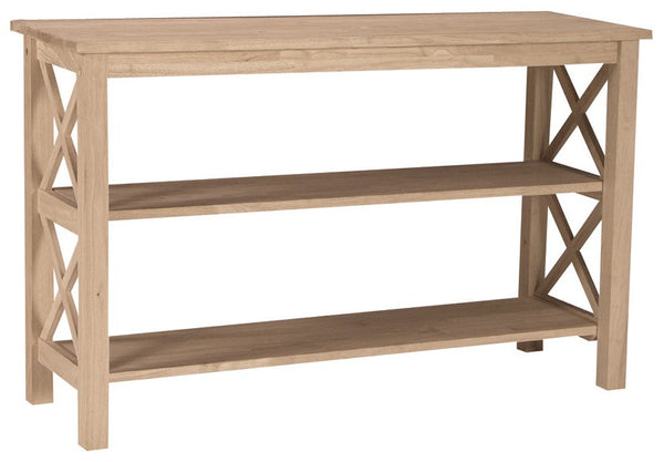 Unfinished Furniture Expo Solid Hardwood X-Sided Sofa Table