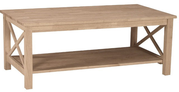 "Hampton Hardwood X-Sided 48"" Coffee Table (Finished Options) - UnfinishedFurnitureExpo"