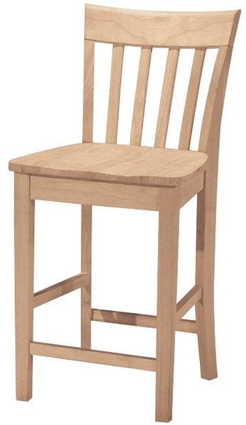 "24"" Hardwood Slat Back Counterstool - UnfinishedFurnitureExpo"