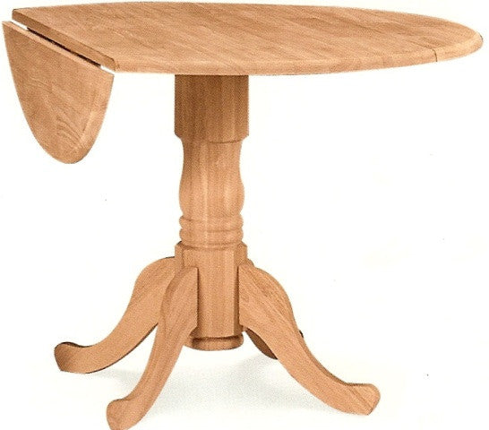Unfinished Furniture Expo Queen Anne Hardwood Dropleaf Pedestal Table