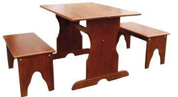 Cottage Oak 3-Piece Kid's Trestle Table Set - UnfinishedFurnitureExpo