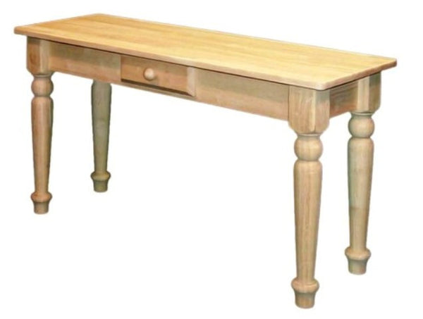 Unfinished Furniture Expo Traditional Hardwood Sofa Table with Drawer