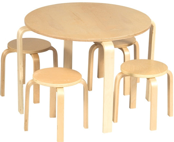 Nordic Kid's 5-Piece Table & Chairs Set in Natural Finish - UnfinishedFurnitureExpo