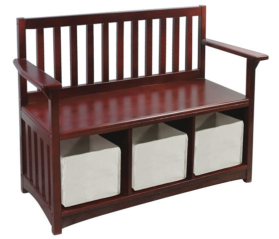 Mission Birch Storage Bench with Bins - Espresso Finish - UnfinishedFurnitureExpo