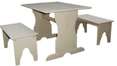 Unfinished 3-Piece Kid's Trestle Table Set