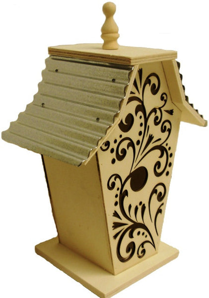 Solid Wood Scrolled Birdhouse