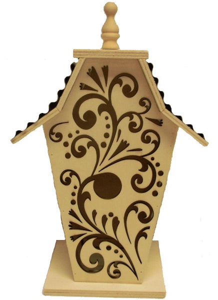 Solid Wood Scrolled Birdhouse - UnfinishedFurnitureExpo