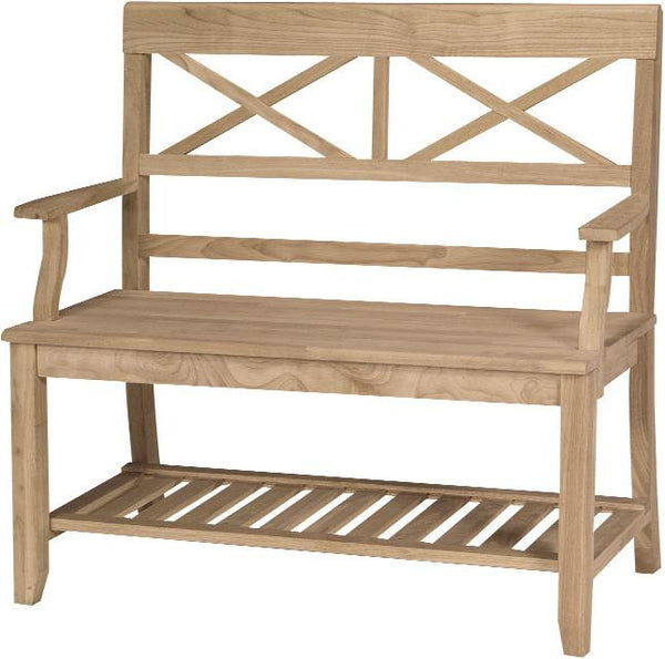"Double X-Back Hardwood Bench - 38"" - UnfinishedFurnitureExpo"