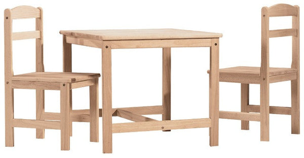 3-Piece Kid's Table & Chair Set (Choose Finish) - UnfinishedFurnitureExpo