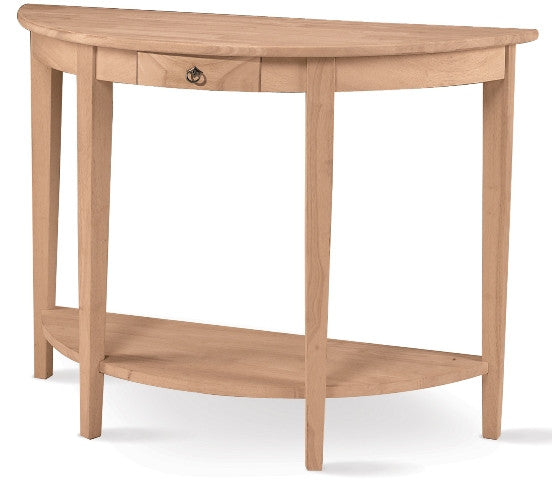 Hardwood Half-Moon Console Table with Drawer & Shelf - UnfinishedFurnitureExpo