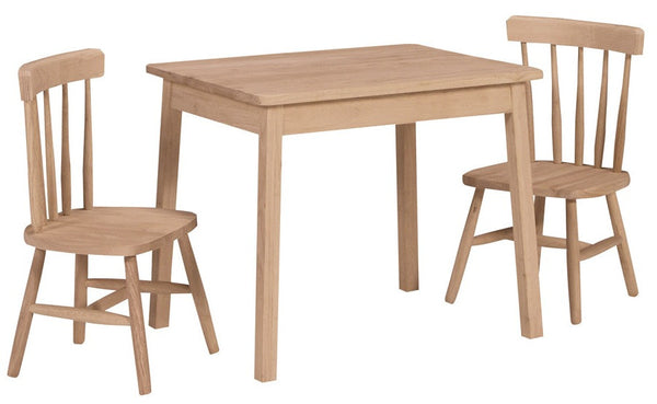 Juvenile Hardwood Rectangular Table & Chair Set - UnfinishedFurnitureExpo