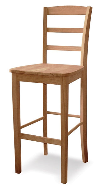 Hardwood Madrid Barstool - UnfinishedFurnitureExpo