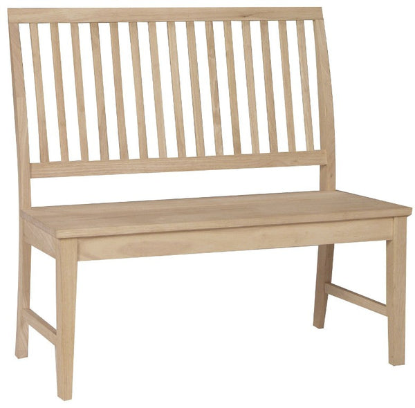 "Solid Hardwood Mission Bench - 42"" Wide - UnfinishedFurnitureExpo"