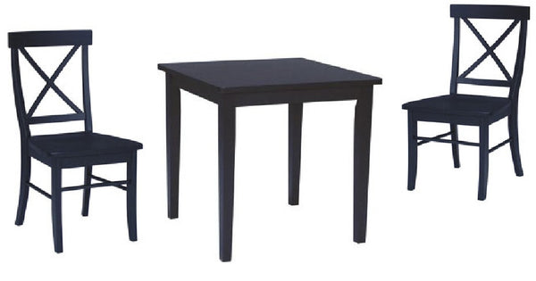 3-Pc. Dining Set with X-Back Chairs - Black Finish - UnfinishedFurnitureExpo