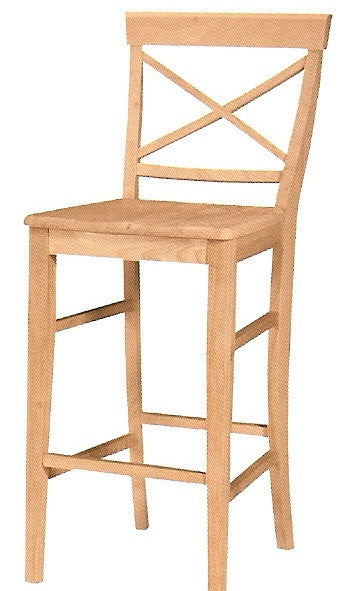 X-Back Hardwood Bar Stool (Finish Options) - UnfinishedFurnitureExpo
