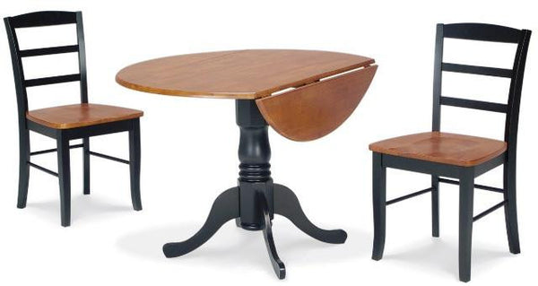 Black & Cherrry 3-Pc Round Drop Leaf Dining Set with Madrid Chairs - UnfinishedFurnitureExpo