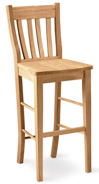 "Hardwood Cafe Barstool 30"" - UnfinishedFurnitureExpo"