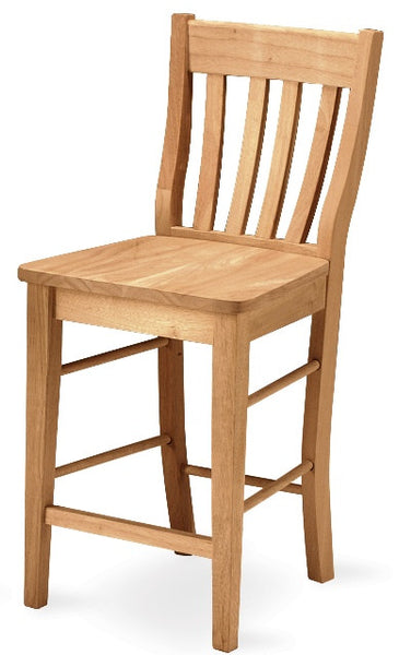 "Hardwood Cafe Counter Stool - 24"" - UnfinishedFurnitureExpo"