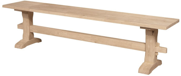 "Hardwood Trestle Bench - 72"" - UnfinishedFurnitureExpo"