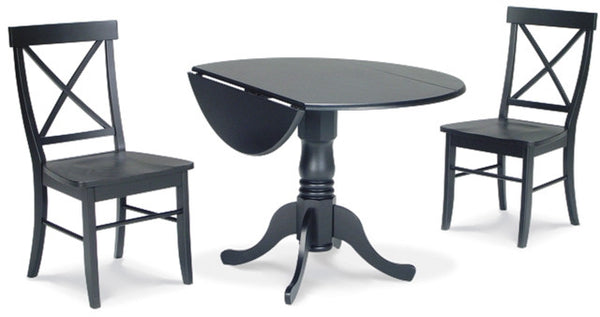 3-Pc Dining Set with Dropleaf Table and X-Back Chairs - Black Finish - UnfinishedFurnitureExpo