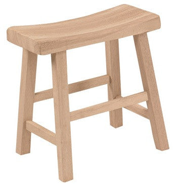 "18"" Hardwood Saddle Seat Stool - 2 Pack - UnfinishedFurnitureExpo"
