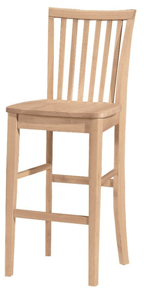 "30"" Hardwood Mission Bar Stool - UnfinishedFurnitureExpo"